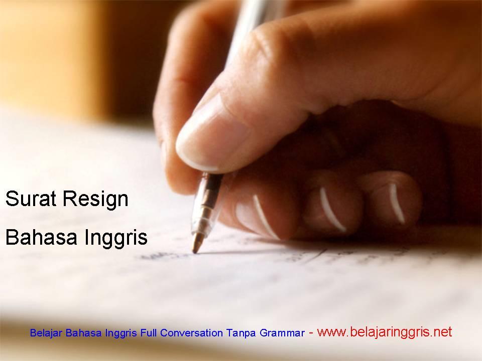 surat resign bahasa inggris